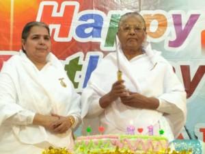 BK Pushpa bahen ji and BK Som bahen ji cutting birthday cake